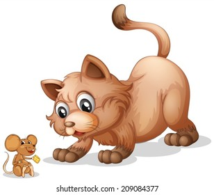 Illustration of a cat and a mouse