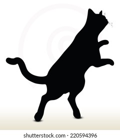 illustration of cat silhouette isolated on white background - in jumping pose