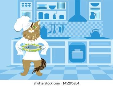 Illustration of cat-chef who has prepared fish.