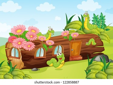 Illustration of a caterpillar and a wood house in a beautiful nature