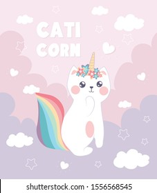 Illustration with caticorn.Cute cat with flowers and horn.