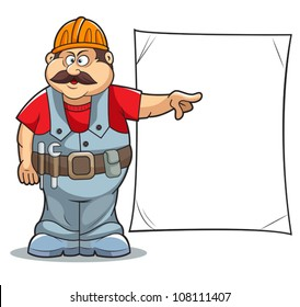 Illustration of Catoon Builder worker man's with sign.