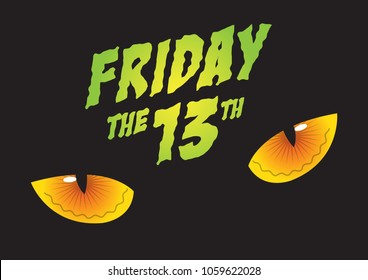 An illustration of cat's eyes and Friday the 13th