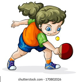 Illustration of a Caucasian girl playing table tennis on a white background