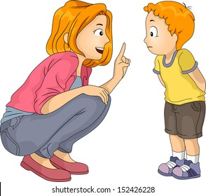 Illustration of a Caucasian Mother Giving Her Son a Lecture