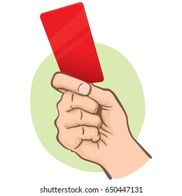 Illustration of Caucasian person, hand holding a red card. Ideal for sports catalogs, informative and institutional guides