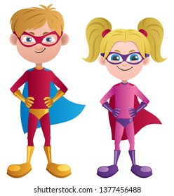 Illustration of caucasian super boy and super girl.