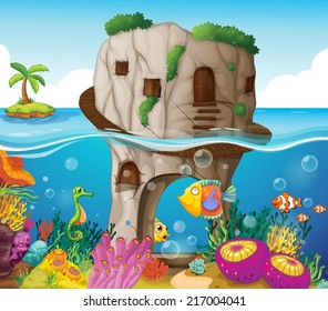 illustration of a cave and ocean view