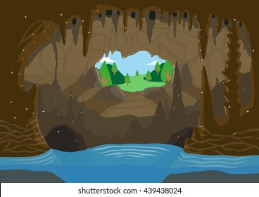 An illustration of a cave with underground river and bats hanging from ceiling. Editable Clip Art.