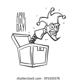 Illustration celebrating April Fools' Day, jack in the box toy, springing out of a box, cartoon character, vector illustration