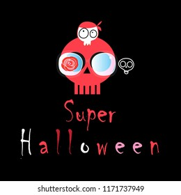 Illustration celebratory to Halloween with cheerful skulls on a dark background