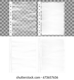 Illustration of Cellophane business form pocket mock up. Document protector and blank white A4 paper sheet in transparent plastic sleeve. And also includes EPS 10 vector