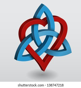Illustration of a Celtic knot triquetra with heart, symbol of power and love.