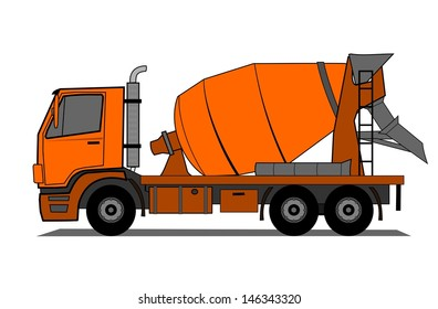 A illustration of cement mixer truck