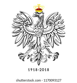 Illustration for the centennial of independence of Poland. Vector illustration