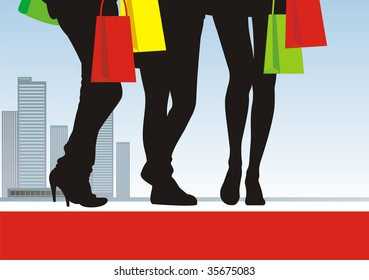 In the illustration centre three pairs feet are located. Near to them bright packages with purchases. On a distance shot the city landscape is visible.