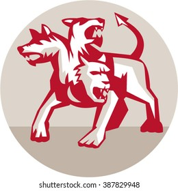Illustration of cerberus, in Greek and Roman mythology, a multi-headed usually three-headed dog, or hellhound with a serpent's tail, a mane of snakes lion's claws inside circle done in retro style.