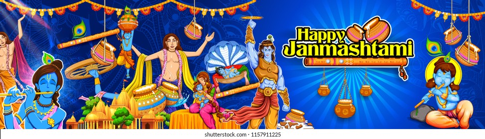 illustration of Chaitanya Mahaprabhu in devotion of Lord Krishna for Happy Janmashtami festival of India