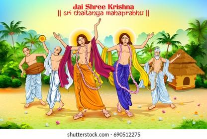 illustration of Chaitanya Mahaprabhu in devotion of Lord Krishna for Happy Janmashtami festival of India