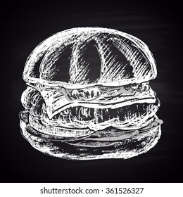 Illustration of chalk drawn apple burger with turkey cutlet. Burger menu collection. Fast food theme.