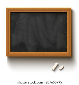 Illustration of a chalkboard and chalks