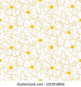 Illustration of chamomile seamless pattern