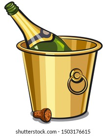 illustration of champagne opened bottle in bucket