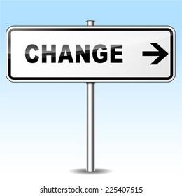 Illustration of change sign on sky background