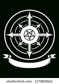 Illustration of a Chaos Magic Symbol with a Blank Ribbon and Concentric Circles