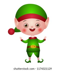 Illustration of the character. Christmas elf, Santa helper in a green suit with empty hands up. Sweet little boy.