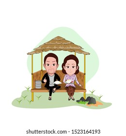 illustration of the character of a farmer having lunch with his wife in a hut in the middle of a rice field dike. Vector cartoons that can be used to caricature templates with plain backgrounds.