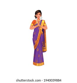 illustration character indian young women traditional outfit
