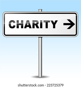 Illustration of charity sign on white background