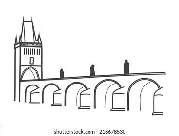 illustration of Charles Bridge, Prague, the most visited Prague sight