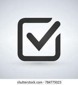 Illustration of check mark icon in square, vector illustration