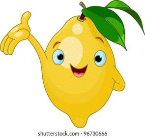 Illustration of Cheerful Cartoon Lemon character