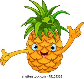 Illustration of Cheerful Cartoon Pineapple character