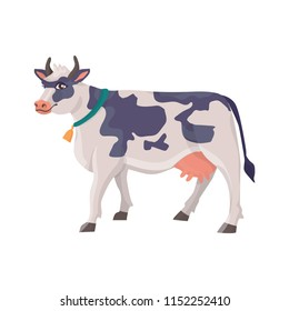 Illustration of cheerful cow in a collar with a bell and with spots on its back. Vector isolated farm animal in cartoon style for your design