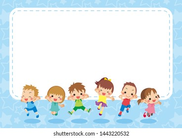 Illustration of cheerful kids jumping.Side wide size.