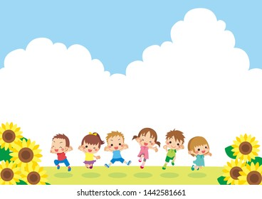 Illustration of cheerful kids jumping.Sunflower blooming under the blue sky.Side wide size.