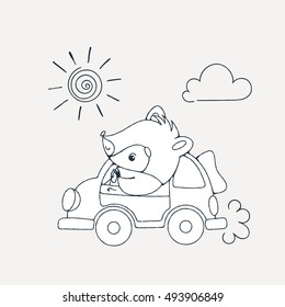 Illustration with a cheerful racoon in car. Vector coloring page.
