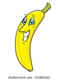 Illustration of the cheerful smiling banana on white background