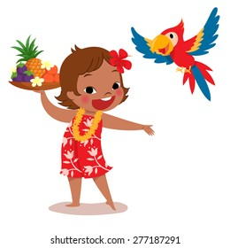 illustration of a cheerful tropical island girl holding tropical fruit tray and her parrot