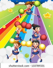 Illustration of a cheering squad at the colorful street