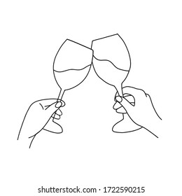 The illustration of cheering. Two glasses of wine. Made in continuous line art. Can be used as a wall art print.