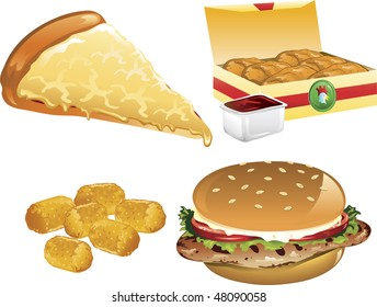Illustration of a cheese pizza, tater tots, chicken nuggets, and a grilled chicken sandwich