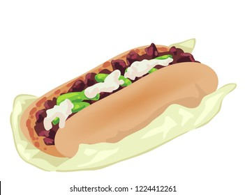 Illustration of a Cheesesteak or a Philadelphia Cheese Steak Sandwich