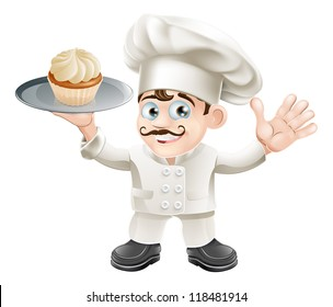 Illustration of a chef or baker with a cake on a plate