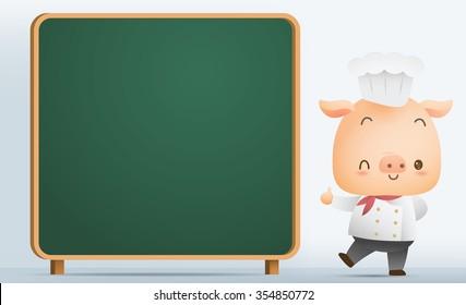Illustration Chef Pig with blank blackboard