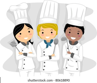 Illustration of Chefs with Different Ethnic Backgrounds